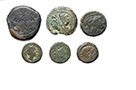 obverse:  Roman Republic. Lot of 6 AE with symbols, unclassified.