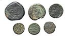 reverse:  Roman Republic. Lot of 6 AE with symbols, unclassified.