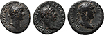 obverse:  Roman Empire. Lot of 3 AE: AE Semis of Trajan and 2 AE Quadrantes of Hadrian.