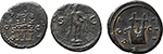 reverse:  Roman Empire. Lot of 3 AE: AE Semis of Trajan and 2 AE Quadrantes of Hadrian.