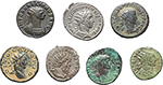 obverse:  Roman Empire. Lot of 7 Antoniniani: Volusian, Postumus, Claudius II Gothicus (divo), Aurelian (2), Probus and Diocletian.