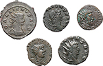 obverse:  Roman Empire. Gallienus, Tetricus I and Tetricus II. Lot of 5 AE, unclassified.