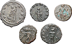 reverse:  Roman Empire. Gallienus, Tetricus I and Tetricus II. Lot of 5 AE, unclassified.