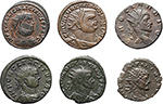 obverse:  Roman Empire. Lot of 6 Antoniniani: Claudius II Gothicus, Quintillus, Tacitus, Diocletian, Maximianus and Licinius, unclassified.