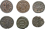 reverse:  Roman Empire. Lot of 6 Antoniniani: Claudius II Gothicus, Quintillus, Tacitus, Diocletian, Maximianus and Licinius, unclassified.