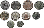 obverse:  Roman Empire. Constantine I and his family. Lot of 10 AE, unclassified.