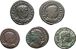 obverse:  Roman Empire. Constantine I and his family. Lot of 5 AE of Constantine I and Constantine II.