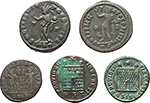 reverse:  Roman Empire. Constantine I and his family. Lot of 5 AE of Constantine I and Constantine II.