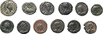 obverse:  Roman Empire. Lot of 12 AE. Unclassified, noted 2 AE of Aelia Flaccilla.