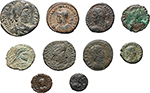 obverse:   Lot of 10 AE, 4th Cent. AD, unclassified.