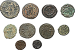 reverse:   Lot of 10 AE, 4th Cent. AD, unclassified.