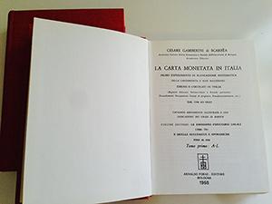 obverse image:  GAMBERINI, C. La carta moneta in Italia. Volume secondo: Le emissioni fiduciarie locali (1866-74) e quelle successive e sporadiche fino al 1914. Tomo primo: A-L. Tomo secondo: M-Z.