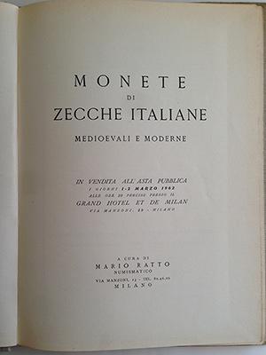 obverse image:  RATTO, M. Monete di zecche italiane medievali e moderne. Milano, 1962. pp. 22, 28 tavole b/n. legatura in tela.