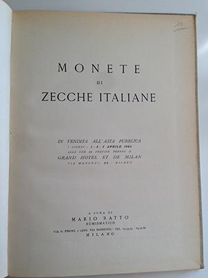 obverse image:  RATTO, M. Monete di zecche italiane. Milano, 1965. 34 tavole b/n. legatura in tela.