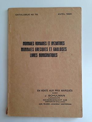 obverse image:  SCHULMAN, Jacques. Catalogue 78. Monnaies romaines et byzantines. Monnaies grecques et gauloises. Livres numismatiques. Vente aux prix marqués.