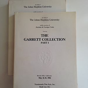 obverse image:  THE JOHNS HOPKINS UNIVERSITY, NFA, BANK LEU. The Garret Collection. Public auction of Ancient and Foreign Coins. Part I (Beverly Hills, California. May 16-18, 1984) and Part II (Zurich, Switzerland. October 16-18, 1984).