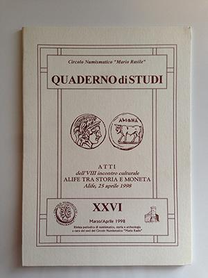 obverse image:  AA.VV. Atti dell VIII incontro culturale Alife tra storia e moneta. Alife, 25 aprile 1998.