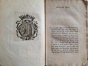obverse image:  TURCHI, D. G. Memorie istoriche di Longiano. Presso Costantino Bisazia, Cesena, 1829. Incisione in apertura.