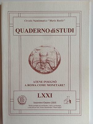 obverse image:  CORRADI, L. Atene insegnò a Roma come monetare?