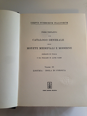 obverse image:  ANONIMO (ma AA.VV. e Vittorio Emanuele III). Corpus Nummorum Italicorum. Volume III. Liguria - Isola di Corsica.