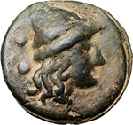 obverse: Anonymous libral series.  AE Sextans, 275-270 BC. Obv. Head of one of the Dioscuri right; two pellets behind. Rev. Head of one of the Dioscuri left; two pellets behind. Cr. 18/5. AE. g. 49.32  mm. 36.50    Good VF.