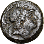 obverse:  Anonymous with sickle series.  AE Litra, 241-235 BC. Obv. Helmeted head of beardless Mars. Rev. Horse s head right; behind, sickle; below, ROMA. Cr. 25/3. AE. g. 3.32  mm. 15.50    EF. Dark patina.