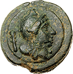 reverse:  Roma/Roma with club series.  AE As, circa 230 BC. Obv. Head of Roma right, wearing Phrygian helmet; behind, club. Rev. Head of Roma left, wearing Phrygian helmet; behind, club. Cr. 27/5. T.V. 23. AE. g. 272.00  mm. 68.00    About EF. Enchanting earthy green patina.