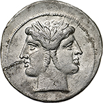 obverse: Anonymous.  AR Quadrigatus, c. 225-214 BC. Obv. Laureate Janiform head of Dioscuri. Rev. Jupiter, holding sceptre and hurling thunderbolt, in fast quadriga right, driven by Victory; below, ROMA incuse on raised tablet. Cr. 28/3. AR. g. 6.41  mm. 25.00   Hairline flan crack at 7-8 o clock, otherwise about EF/EF. Struck on a very large flan, brilliant and superb.