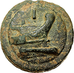 reverse:  Anonymous libral series.  AE As, circa 225-217 BC. Obv. Head of Janus; below, horizontal mark of value I; all on a raised disk. Rev. Prow right; above, mark of value I; all on a raised disk. Cr. 35/1. T.V. 51. AE. g. 253.00  mm. 65.00    EF. Green patina, earthen deposits.