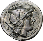 obverse: Anonymous series.  AR Denarius, 211-208 BC. Obv. Helmeted head of Roma right; X behind. Rev. Dioscuri on horseback riding right; ROMA in exergue. Cr. 44/5. AR. g. 4.70  mm. 20.30    About EF/Good VF. Struck on a large flan.