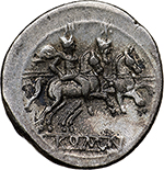 reverse: Anonymous series.  AR Denarius, 211-208 BC. Obv. Helmeted head of Roma right; X behind. Rev. Dioscuri on horseback riding right; ROMA in exergue. Cr. 44/5. AR. g. 4.70  mm. 20.30    About EF/Good VF. Struck on a large flan.