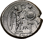 reverse: CM series.  AR Victoriatus. Sicily, c. 211-208 BC. Obv. Laureate head of Jupiter right; behind, C. Rev. Victory standing right, crowning trophy; in field, M and in exergue, ROMA. Cr. 71/1a. AR. g. 3.23  mm. 16.50  R.  Good EF. rare. Superb and lightly toned.