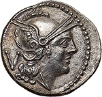 obverse: H series.  AR Quinarius. South East Italy, c. 211-210 BC. Obv. Helmeted head of Roma right; behind, V. Rev. The Dioscuri galloping right; below, H and in exergue, ROMA. Cr. 85/1a. AR. g. 1.95   Scarce.  About FDC/Good EF. Rare. Perfectly struck in high relief and lightly toned with iridescent hues. Exceptional.