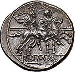 reverse: H series.  AR Quinarius. South East Italy, c. 211-210 BC. Obv. Helmeted head of Roma right; behind, V. Rev. The Dioscuri galloping right; below, H and in exergue, ROMA. Cr. 85/1a. AR. g. 1.95   Scarce.  About FDC/Good EF. Rare. Perfectly struck in high relief and lightly toned with iridescent hues. Exceptional.