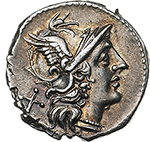 obverse:  Anonymous.  AR Denarius, 157-156 BC. Obv. Helmeted head of Roma right; behind, X. Rev. Victory in biga right, holding reins in left hand and whip in right hand; in exergue, ROMA. Cr. 197/1b. AR. g. 3.67  mm. 18.00    EF.