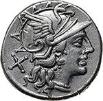 obverse: L. Saufeius.  AR Denarius, 152 BC. Obv. Helmeted head of Roma right, X behind. Rev. Victory in biga right; L. SAVF below horses, ROMA in exergue. Cr. 204/1. B.1. AR. g. 3.95  mm. 18.00    EF. Brilliant and superb.