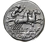 reverse: L. Saufeius.  AR Denarius, 152 BC. Obv. Helmeted head of Roma right, X behind. Rev. Victory in biga right; L. SAVF below horses, ROMA in exergue. Cr. 204/1. B.1. AR. g. 3.95  mm. 18.00    EF. Brilliant and superb.