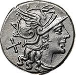 obverse: Pub. Sulla.  AR Denarius, 151 BC. Obv. Helmeted head of Roma right, X behind. Rev. Victory in biga right, P. SVLA below horses, ROMA in exergue. Cr. 205/1. B. (Cornelia) 1. AR. g. 4.00  mm. 18.50    EF. Brilliant and superb.