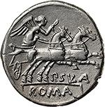 reverse: Pub. Sulla.  AR Denarius, 151 BC. Obv. Helmeted head of Roma right, X behind. Rev. Victory in biga right, P. SVLA below horses, ROMA in exergue. Cr. 205/1. B. (Cornelia) 1. AR. g. 4.00  mm. 18.50    EF. Brilliant and superb.