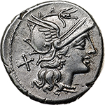 obverse: Spurius Afranius.  AR Denarius, 150 BC. Obv. Helmeted head of Roma right, X behind. Rev. Victory in biga right, SAFRA below horses, ROMA in exergue. Cr. 206/1. B. 1. AR. g. 4.13     EF. Of unusually high weight. Brilliant and superb.