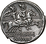 reverse: M. Atilius Saranus.  AR Denarius, 148 BC. Obv. Helmeted head of Roma right, X below chin, SARAN behind. Rev. The Dioscuri galloping right; below horses, M. ATILI and in exergue, ROMA. Cr. 214/1b. B.9. AR. g. 3.94  mm. 19.50    Good EF. From fresh dies, perfectly centred on broad flan and lovely toned. Exceptional.