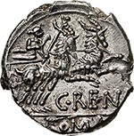reverse: C. Renius.  AR Denarius, 138 BC. Obv. Helmeted head of Roma right, X behind. Rev. Juno Caprotina in biga of goats right, C. RENI below goats, ROMA in exergue. Cr. 231/1. B.1. AR. g. 3.70  mm. 18.00   Insignificant metal flaw on reverse, otherwise about FDC. Rare in this state of preservation.