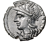 obverse: M. Baebius Q. f. Tampilus.  AR Denarius, 137 BC. Obv. Helmeted head of Roma left, X below chin, TAMPIL behind. Rev. Apollo in quadriga right, ROMA below horses, M. BAEBI Q.F. in exergue. Cr. 236/1. B.12. AR. g. 3.98  mm. 19.00    About FDC.