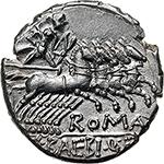 reverse: M. Baebius Q. f. Tampilus.  AR Denarius, 137 BC. Obv. Helmeted head of Roma left, X below chin, TAMPIL behind. Rev. Apollo in quadriga right, ROMA below horses, M. BAEBI Q.F. in exergue. Cr. 236/1. B.12. AR. g. 3.98  mm. 19.00    About FDC.