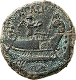 reverse: P. Calpurnius.  AE Quadrans, 133 BC. Obv. Head of Hercules right; behind, three pellets. Rev. P. CALP. Ship right; pilot and Victory with wreath on deck; standard on the prow. On side, ROMA and before prow, S. Below, dolphin. Cr. 247/3. B.4. Cfr. NAC 61, 1015 (RBW Collection) and note. AE. g. 4.01  mm. 19.00  R.  VF/About EF. Rare and interesting type. Crawford did not note the standard on the prow of the ship, very evident on this example. In excellent condition for the issue, with reverse exceptionally complete. Hearthy green patina.