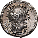 obverse: L. Opimius.  AR Denarius, 131 BC. Obv. Helmeted head of Roma right; below chin, X and behind, wreath. Rev. Victory in quadriga right, holding reins and wreath; below, L. OPEIMI. In exergue, ROMA. Cr. 253/1. B.12. AR. g. 3.98  mm. 18.00    Good EF. Perfectly centred and lightly toned with iridescent hues. Brilliant and superb.