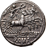 reverse: L. Opimius.  AR Denarius, 131 BC. Obv. Helmeted head of Roma right; below chin, X and behind, wreath. Rev. Victory in quadriga right, holding reins and wreath; below, L. OPEIMI. In exergue, ROMA. Cr. 253/1. B.12. AR. g. 3.98  mm. 18.00    Good EF. Perfectly centred and lightly toned with iridescent hues. Brilliant and superb.