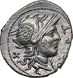 obverse: Q. Curtius.  AR Denarius, 116-115 BC. Obv. Helmeted head of Roma right, X behind, Q. CVRT before. Rev. Jupiter in galloping quadriga right, M. SILA below horses and lituus above; ROMA in exergue. Cr. 285/2. B.2. AR. g. 3.89  mm. 21.00    Good EF/About FDC. Excellent metal and very broad flan. A superb example, brilliant and lightly toned.