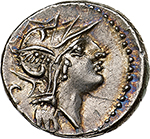 obverse:  D. Silanus L.f.  AR Denarius, 91 BC. Obv. Head of Roma right, C behind. Rev. Victory in biga right, X above, D. SILANVS L.F/ ROMA in exergue. Cr. 337/3. AR. g. 3.88  mm. 18.50    EF. Lovely iridescent patina.
