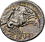reverse:  D. Silanus L.f.  AR Denarius, 91 BC. Obv. Head of Roma right, C behind. Rev. Victory in biga right, X above, D. SILANVS L.F/ ROMA in exergue. Cr. 337/3. AR. g. 3.88  mm. 18.50    EF. Lovely iridescent patina.